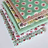 6 Fat Quarters - Rose Jardin - Mint green, pink and a hint of pale yellow. 100% Cotton Fabric. Ideal for Quilting and Craft Sewing (includes free patchwork pattern) by Overdale Fabrics