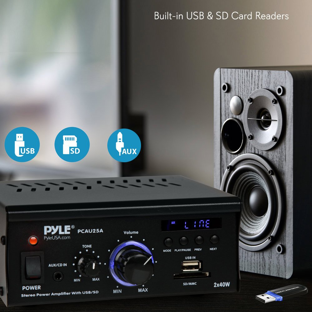 Home Audio Power Amplifier System 2x40w Dual Channel Usb Powered Wiring Diagram Mini Theater Stereo Sound Receiver Box W Rca Aux Led Remote