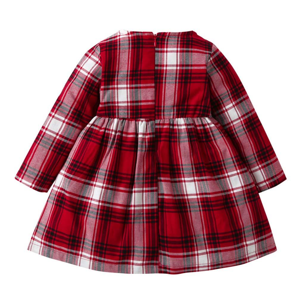 LENGIMA B/éb/é Filles Manche Longue Plaid Rouge Princesse Robe Tenue Printemps