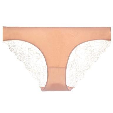 1169243b229 Tyler Morrison Women s Sexy Lace Panties Seamless Cotton Panty Hollow  Briefs Plus Apricot M