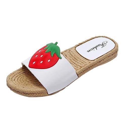 HUIHUI Sandalen Damen Elegant Rutschfestes Flaches Stroh Sandalen Slipper Strandschuhe Roma Fisch Mund Hohl Schuhe