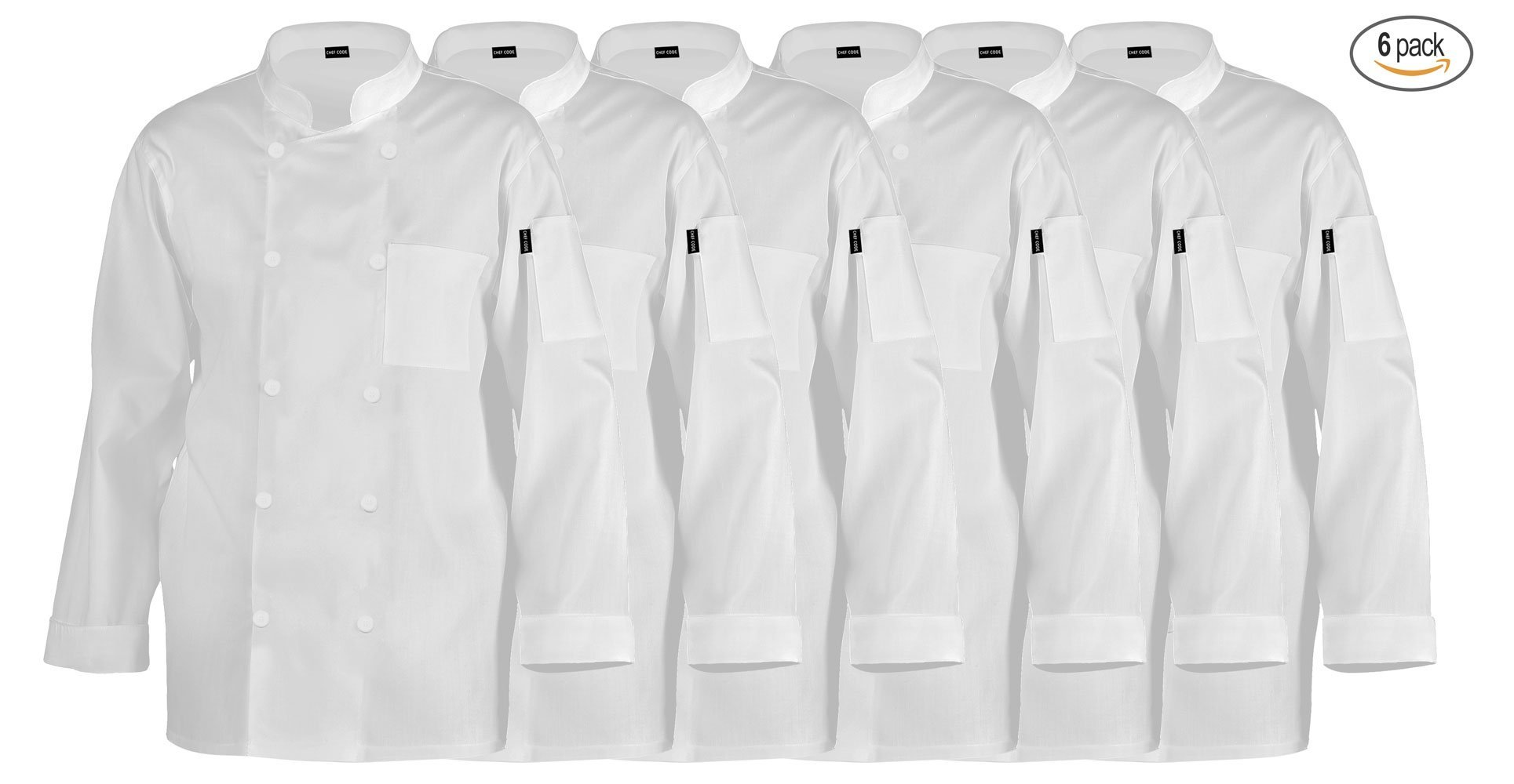 Chef Code Jeff's Executive Chef Coat CC110 (M, 6 Pack - White) by Chef Code