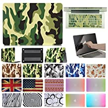 """Coosbo - 3in1 Unique Matched Pair Case Cover for 15"""" 15.4"""" Apple Mac Macbook Pro with CD-ROM + Keyboard skin + screen protector film (15"""" Pro with CD-ROM (Model:A1286), Camouflage-Jungle)"""