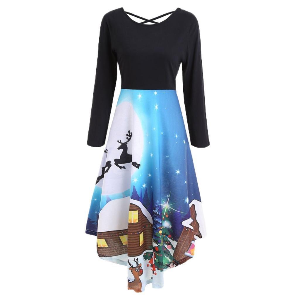 Snowfoller Women Fashion Christmas Dress, Autumn Winter Casual Long Sleeve Back Cross Irregular Hem Lace Up Tunic Party Dress (XL, Blue)
