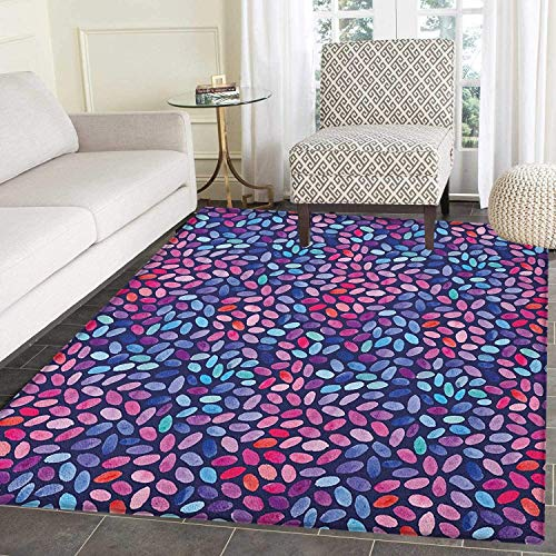 Watercolor Area Silky Smooth Rugs Vibrant Colored Mosaic of Blooming Flower Petals Funky Artful Paintbrush Effect Floor Mat Pattern 3'x5' Multicolor