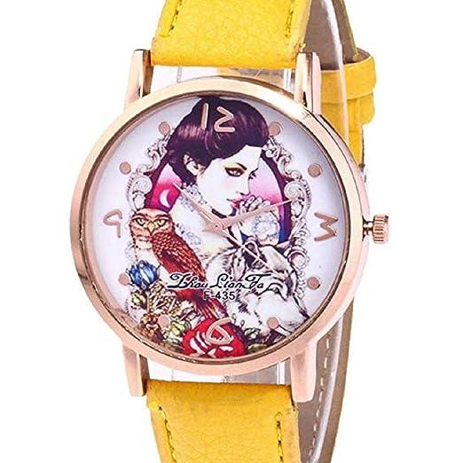 Scpink Relojes con diseño de niña para Mujer, Relojes de señora analógicos únicos Relojes Femeninos a la Venta Relojes de Pulsera para Mujer Reloj de Cuero ...