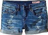 Blank NYC Kids Girl's Distressed Cuff Denim Shorts in Weekend Warrior (Big Kids) Blue 12