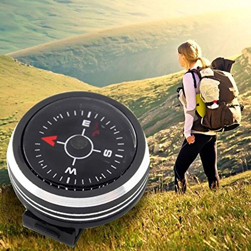 1 Set Mini Portable Compass Keychain Guiding Wristwatch Direction Survival Emergency Life Military Splendid Popular Outdoor Camping Waterproof Whistle Backpack Geometry Map Guide Tools (G-shock Mini Watch)