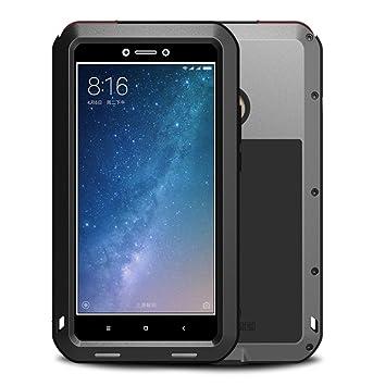 Xiaomi Mi Max 2 Funda, Love Mei Metal [Aluminio] y Silicona Antigolpes [Ultra Resistente] Antichoque Protector de Pantalla [Cristal Gorila Glass] ...