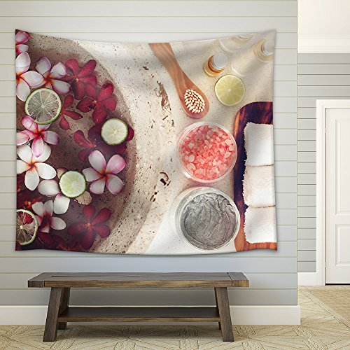 Tropical Spa Treatment (wall26 - Foot bath in bowl with lime and tropical flowers, spa pedicure treatment, top view - Fabric Wall Tapestry Home Decor - 68x80 inches)