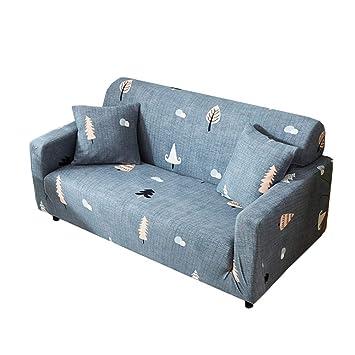 Funda para sofá elástica, antideslizante, estampado de plumas y flores moderno y simple, de 1/2/3/4 plazas, protector para mascotas, Cedro, 3-Seater ...