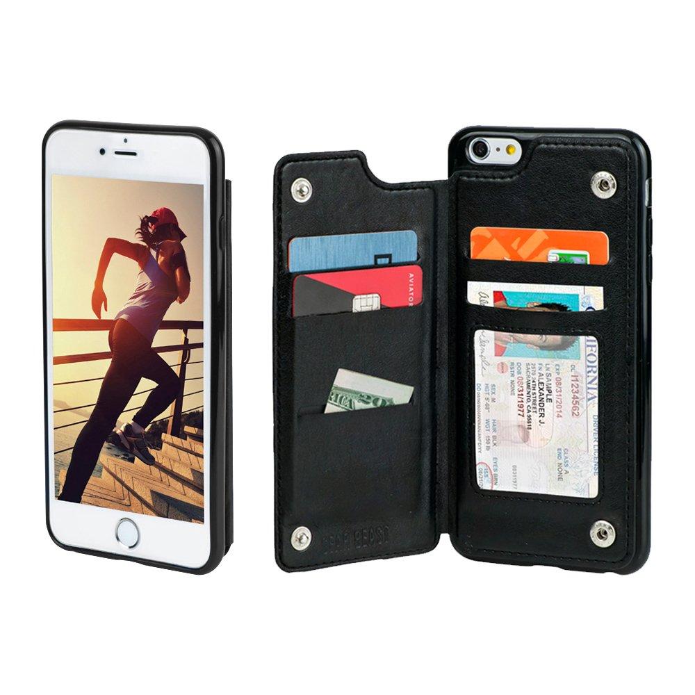 Gear Beast iPhone 6 Plus / 6s Plus Wallet Case, Top View Flip Folio for iPhone 6 Plus/6s Plus Slim PU Leather Case 4 Slot Card Holder Including ID Holder Plus Cash Slot for Men and Women - Black