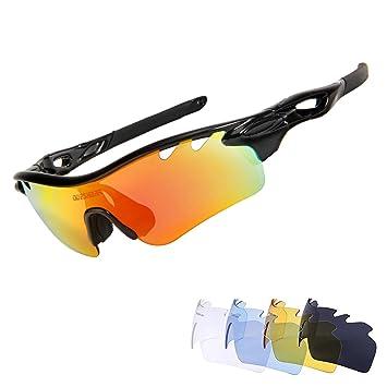 TOPTETN Polarized Sports lunettes de soleil UV400 protection lunettes de vélo avec 5 lentilles interchangeables pour le cyclisme, baseball, pêche, ski, course (red black)