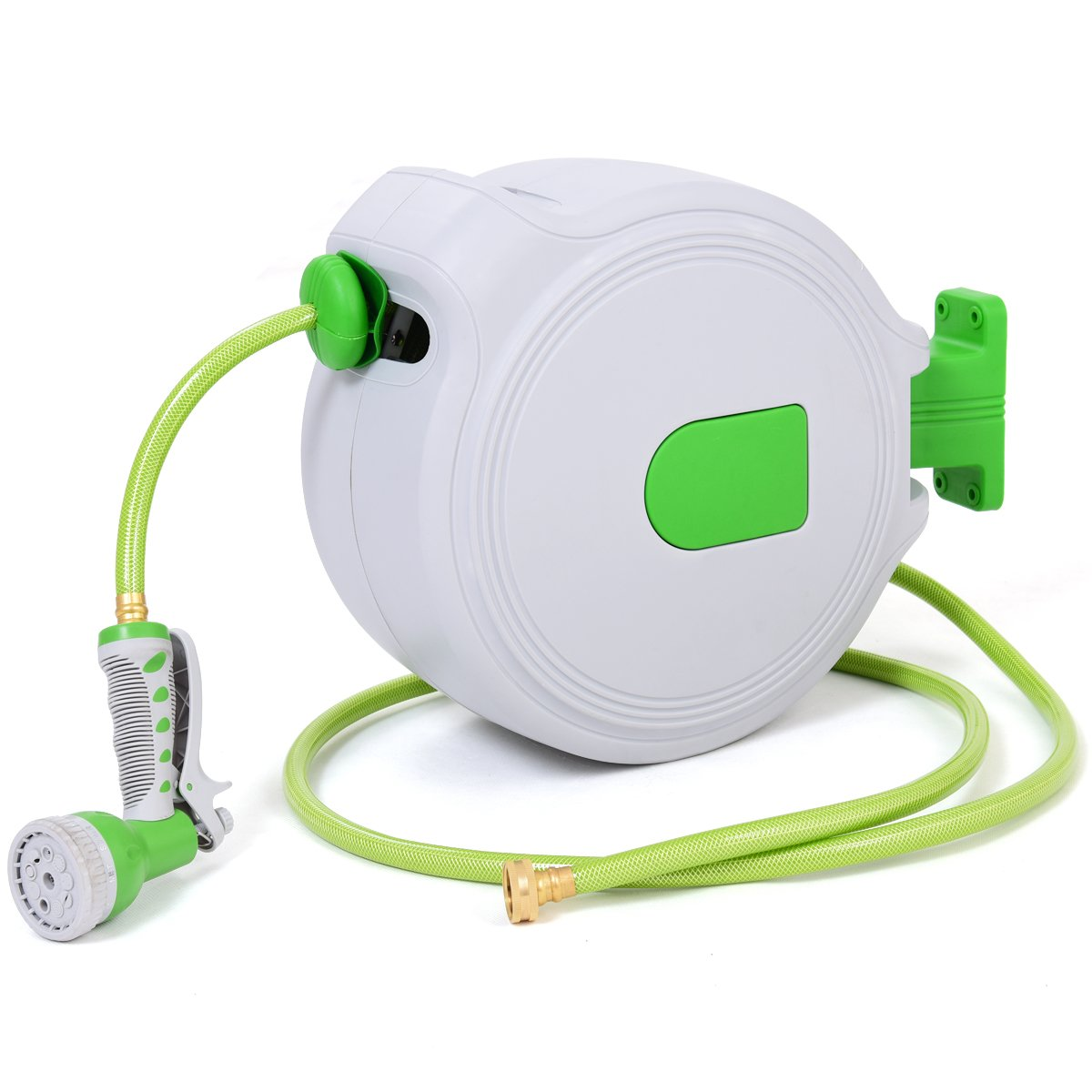 Goplus Retractable Water Hose Reel Wall Mounted 1/2'' Plastic Water Hose w/Spray Gun for Garden (65')