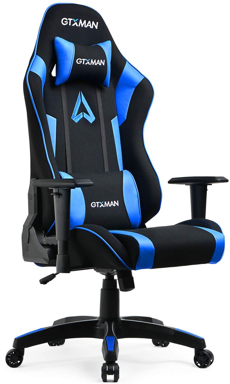 bluee GTXMAN Gaming Chair Racing Style Office Chair Video Game Chair Breathable Mesh Chair Ergonomic Heavy Duty 350lbs Esports Chair X-005 bluee