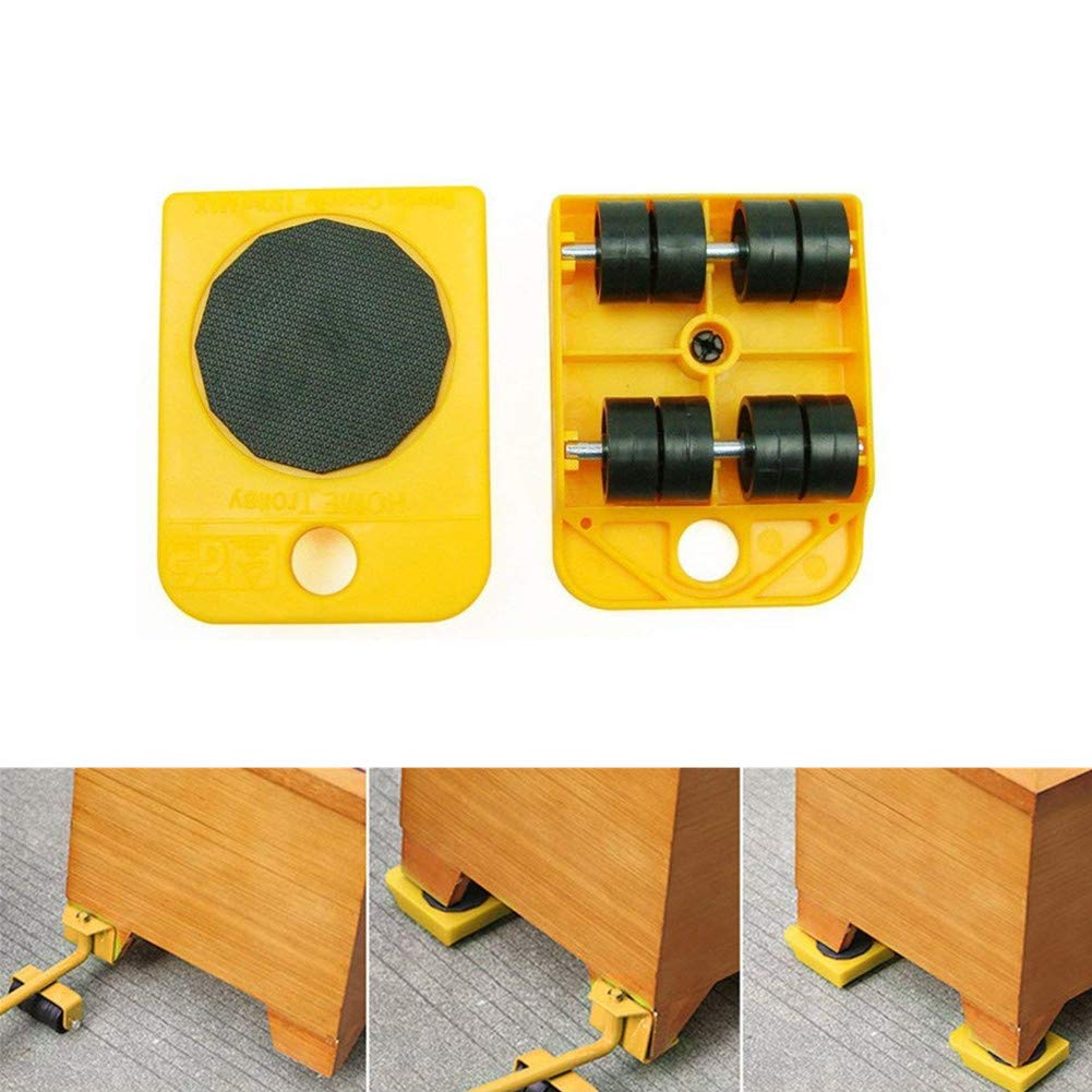 Wefond 1 Set Furniture Lifter Durable Heavy Appliance Furniture Lifting and Moving Tool Set for Heavy Furniture & Appliance Lifting, 1 Lifting Rod and 4 Furniture Moving Rollers (Yellow) by Wefond (Image #3)