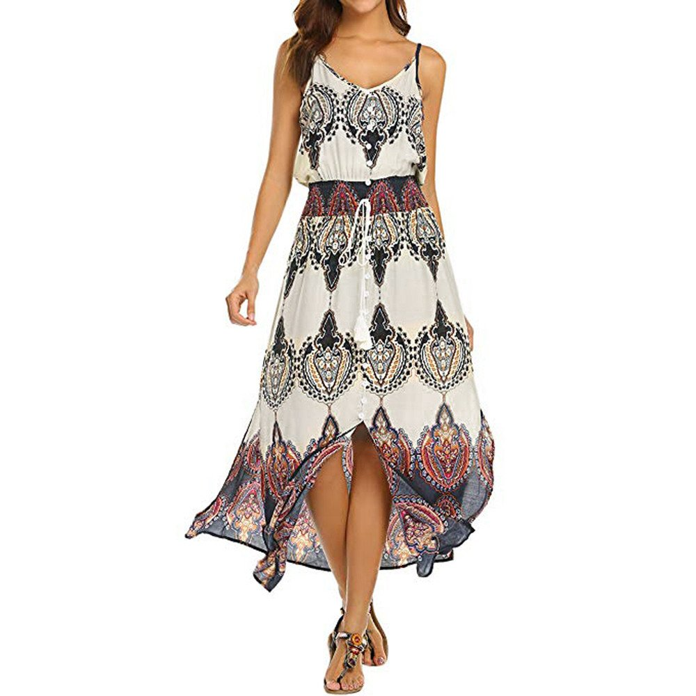 80d116f9a36 Amazon.com: POTO Dress Sets, Women's Off Shoulder Beach Printing Crop Tops  Blouse and Maxi Skirt Set 2 Piece Outfit Dress: Clothing