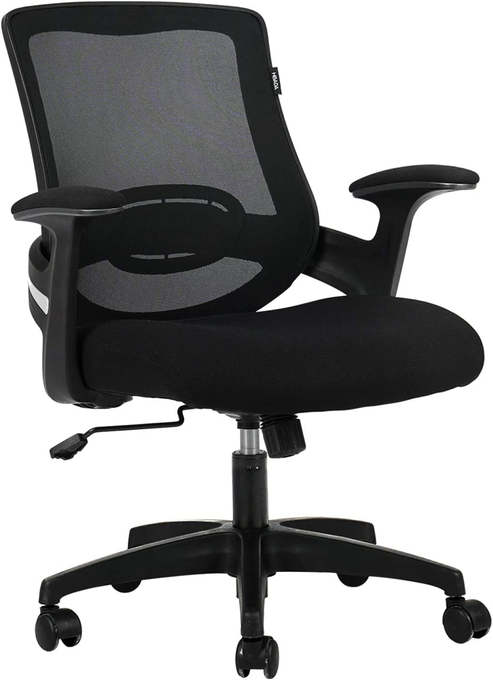 Hbada Ergonomic Office Chair Computer Desk Chair Mid-Back Mesh Task Chair with Strong Shield Type Lumbar Support, Height Adjustable Swivel and Rocking Chair with Padded Armrest, Black.