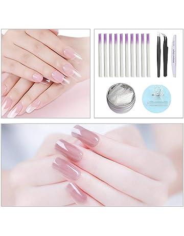 Conjunto de fibras de extensión de uñas. Nail art. Pegamento de extensión de fototerapia