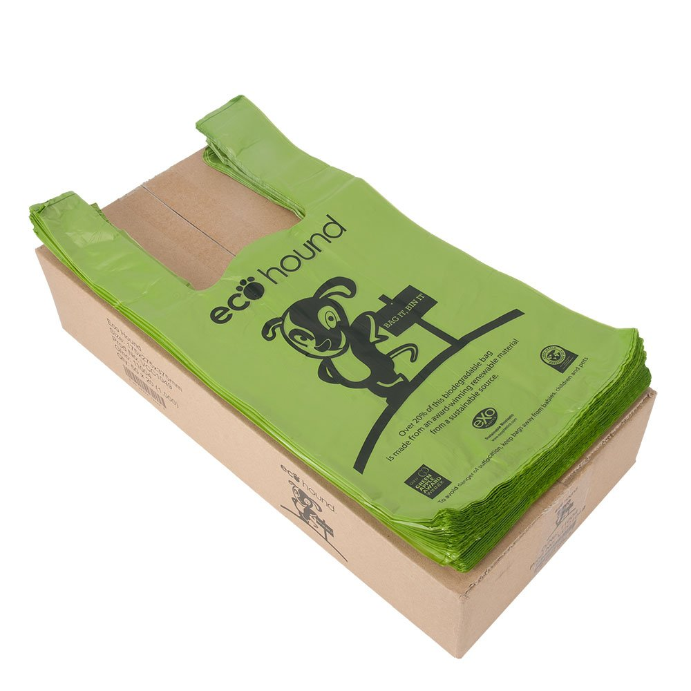 Ecohound - Bolsas de basura biodegradables y sin perfume para caca de perros, color verde (1000 unidades)