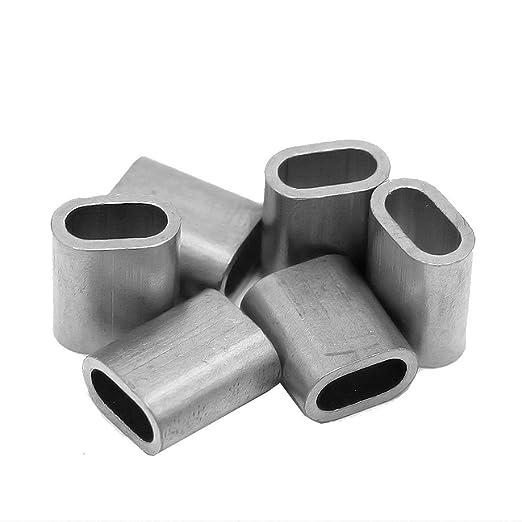 Constrabo® | 50x virolas de aluminio 2 mm | Férulas ovaladas según DIN EN 13411-3 (DIN 3093) | Manguitos de presión, casquillos de aluminio para cables de ...