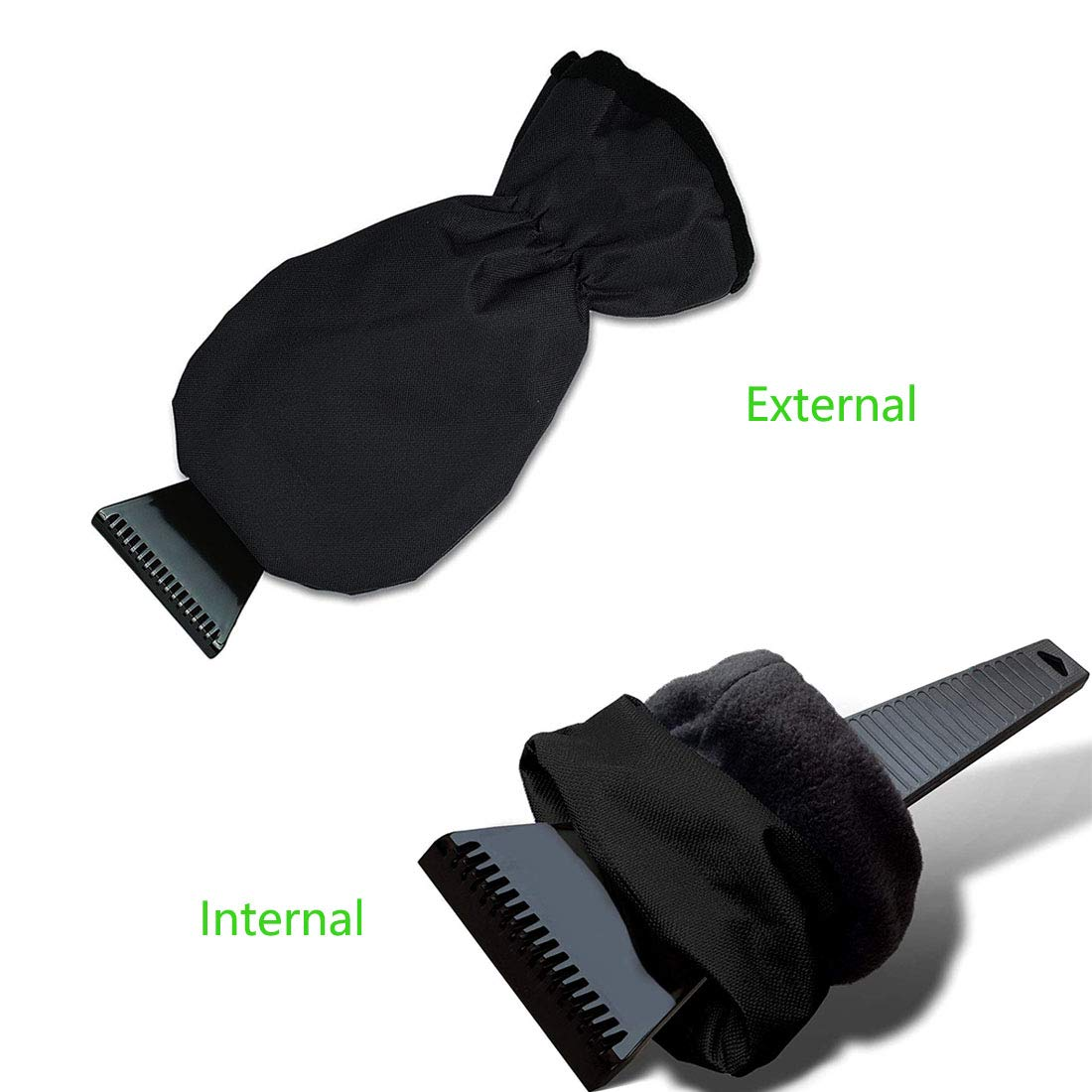 Warm Lined AMOUTOR 2 Pack Ice Scraper Mitts Snow Shovel Defrost Scrapers with Waterproof Glove Effectively Lightweight Black