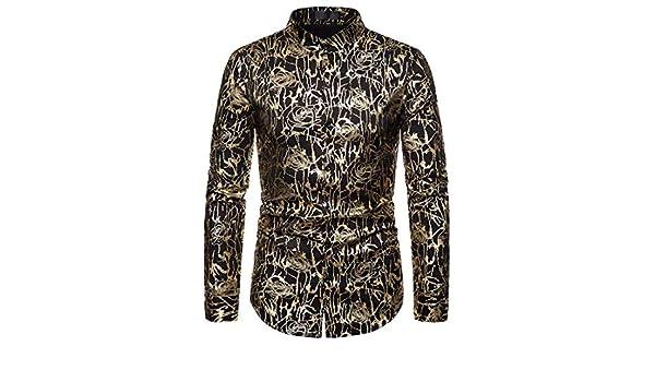 Jofemuho Men Slim Long Sleeve Button Up Floral Printed Business Dress Work Shirt