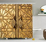 Moroccan Decor Shower Curtain Set By Ambesonne, Main Golden Gates Of Royal Palace in Marrakesh, Morocco Travel Tourist Attraction , Bathroom Accessories, 84 Inches Extralong