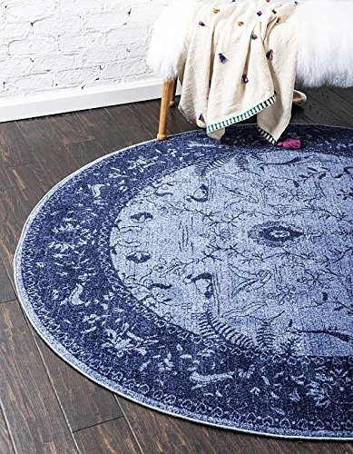 Blue 6' Round Area Rug (Unique Loom La Jolla Collection Blue 6 ft Round Area Rug (6' x 6'))