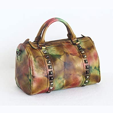 58b26eb740a6 AIYAMAYA Rivet Travel Bag The First Layer Of Leather Handbags Vegetable  Tanned Leather Shoulder Bag Crossbody