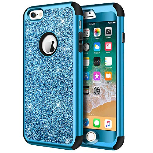 (iPhone 6s Case, iPhone 6 Case, Hython Heavy Duty Full-Body Defender Protective Case Bling Glitter Sparkle Hard Shell Armor Hybrid Shockproof Rubber Bumper Cover for iPhone 6 and 6s 4.7-Inch, Blue )