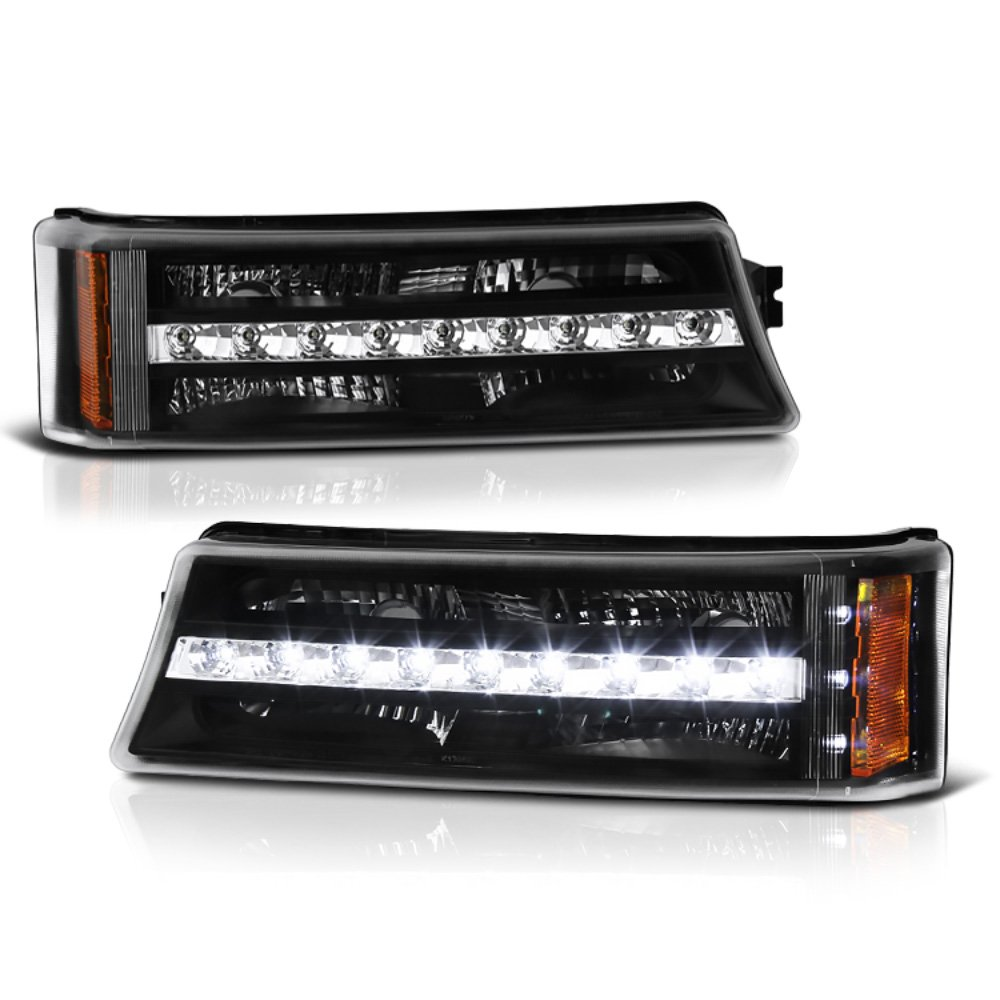 VIPMOTOZ Front Bumper LED Strip Fog Light Assembly For 2003-2006 Chevy Avalanche & Silverado 1500 2500 3500, Matte Black Housing, Driver and Passenger Side