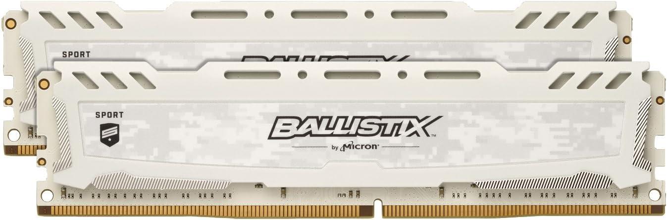 Crucial Ballistix Sport LT 2400 MHz DDR4 DRAM Desktop Gaming Memory Kit 8GB (4GBx2) CL16 BLS2K4G4D240FSC (White)
