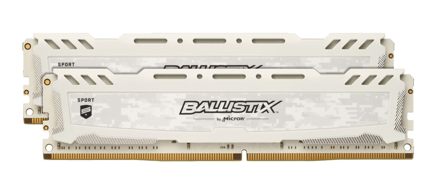 allistix Sport LT BLS2C4G4D240FSC/BLS2K4G4D240FSC 8GB Kit (4GB x 2) (DDR4, 2400 MT/s, PC4-19200, Single Rank x8, DIMM, 288-Pin) Memory, White