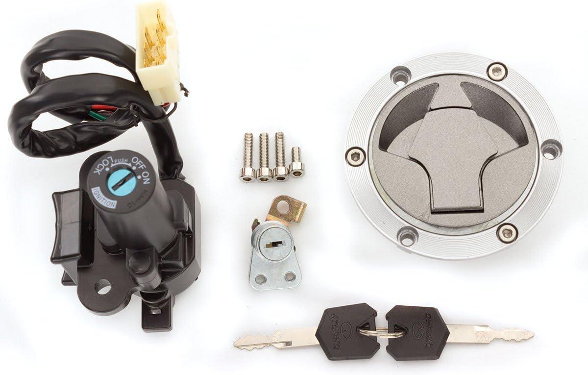 PROCNC Ignition Switch Seat Gas Cap Cover Lock Key Set for Kawasaki 2012 Ninja 250R EX250J SE 2008-2012 Ninja 250R EX250J 2014-2015 Ninja 300 EX300B ABS 2014-2015 Ninja 300 EX300A SE