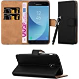Samsung Galaxy J5 2017 Case, Leather Wallet Book Card Case Cover Pouch For Samsung Galaxy J5 2017 + Screen Protector & Polishing Cloth + Touch Stylus Pen (Black)