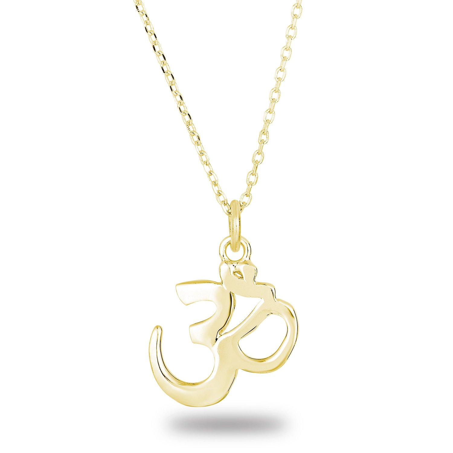 14k Yellow Gold Plated 925 Sterling Silver Plain Finish OHM Om Aum Pendant Necklace, 18\