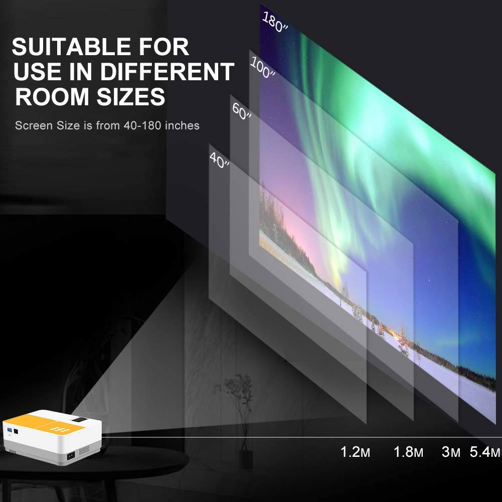 TUREWELL H3 Projector Video Projector 3600 Lumens Native 720P LCD Mini Projector 180'' 55000 Hours Support 2K HDMI/VGA/AV/USB/SD Card/Headphone Compatible with Fire TV Stick/Home Theater/PS4 by TUREWELL (Image #3)