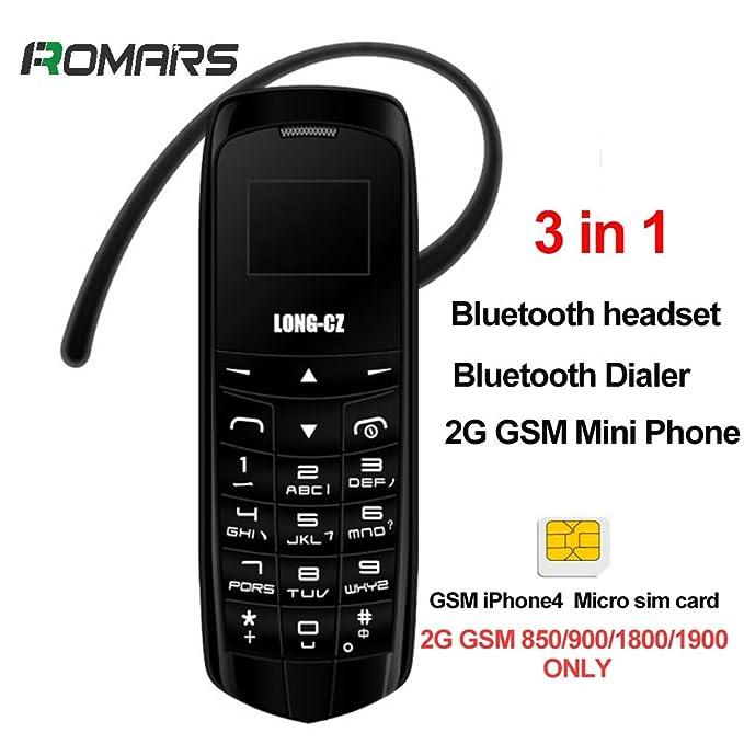 LONG CZ J8 3 en 1 el teléfono desbloqueado más peque?o Auriculares Bluetooth 3 en 1 + marcador Bluetooth + 2G Mini teléfono desbloqueado Cambiador de ...
