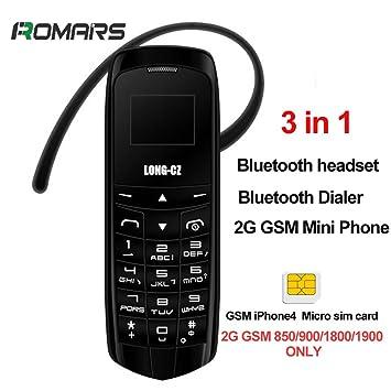 Long Cz Voice Changer 3in1 Les Plus Petits Du Monde Plus Minces Téléphone Mobile Bluetooth Dialer Casque Bluetooth Micro Carte Sim J8 18 Gram Noir