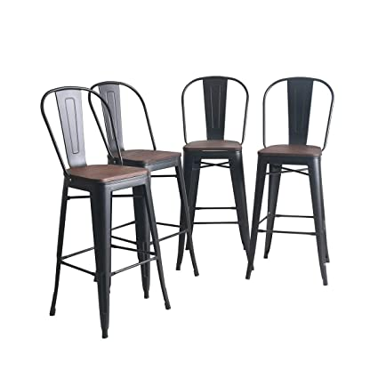 Super Yongqiang Metal Barstools Set Of 4 Indoor Outdoor Bar Stools High Back Dining Chair Counter Stool Cafe Side Chairs With Wooden Seat 26 Inch Matte Unemploymentrelief Wooden Chair Designs For Living Room Unemploymentrelieforg