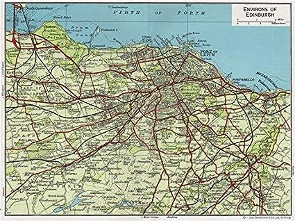 Amazon.com: ENVIRONS OF EDINBURGH. Vintage map plan. Leith ...