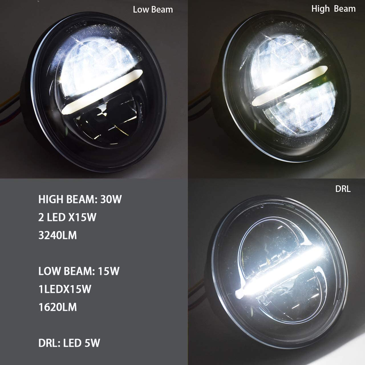Silber 5 3//4 5,75 Zoll LED-Scheinwerfer Daymaker Housing Bracket Eimer f/ür Harley Davidson Motorrad
