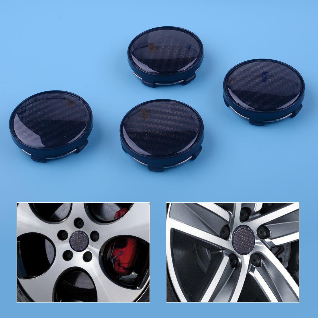 beler 4 pcs 60mm 58mm Diam/ètre En Fiber De Carbone Motif Voiture SUV Roue Centre Hub Caps Couverture