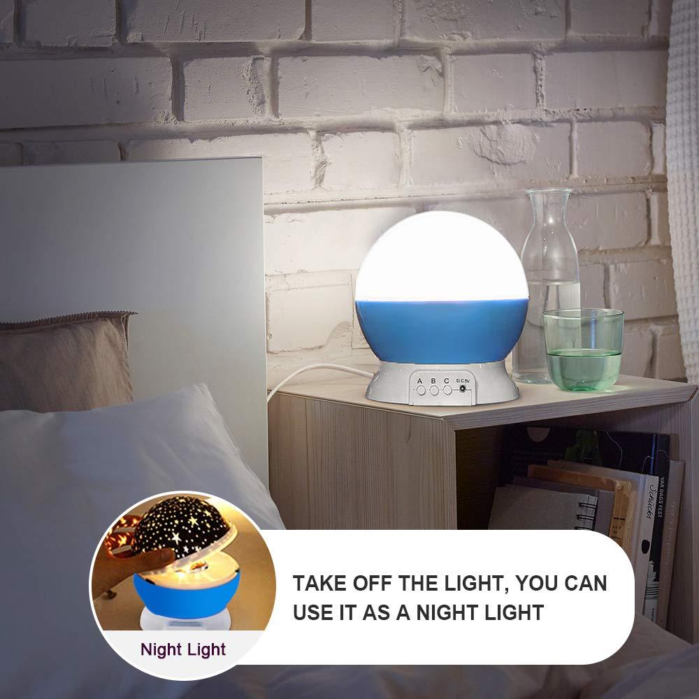 Decoraci/ón Casa omitium L/ámpara de Noche L/ámparas Infantiles Estrella Luces navidad 360 Grados Rotaci/ón Proyector de 3 Modos de luz Nocturna para Ni/ños Dormitorio Azul L/ámpara de Proyector