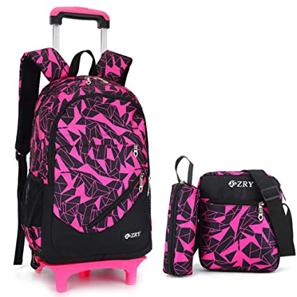 Wheeled Rolling Backpack Carry-on Trolley School Bag Luggage with Small  Book Bags Pen Bag bb536f3a0f443