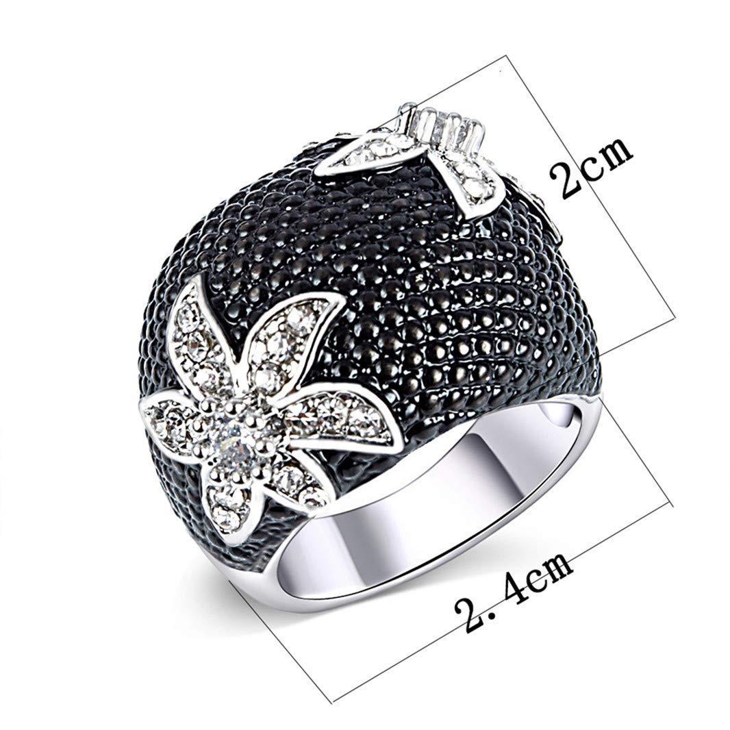QBSPORTS Fingerring, Vintage-Stil, Strasssteine, hohl, Blume, für Hochzeit, Verlobung, Schmuck - 7
