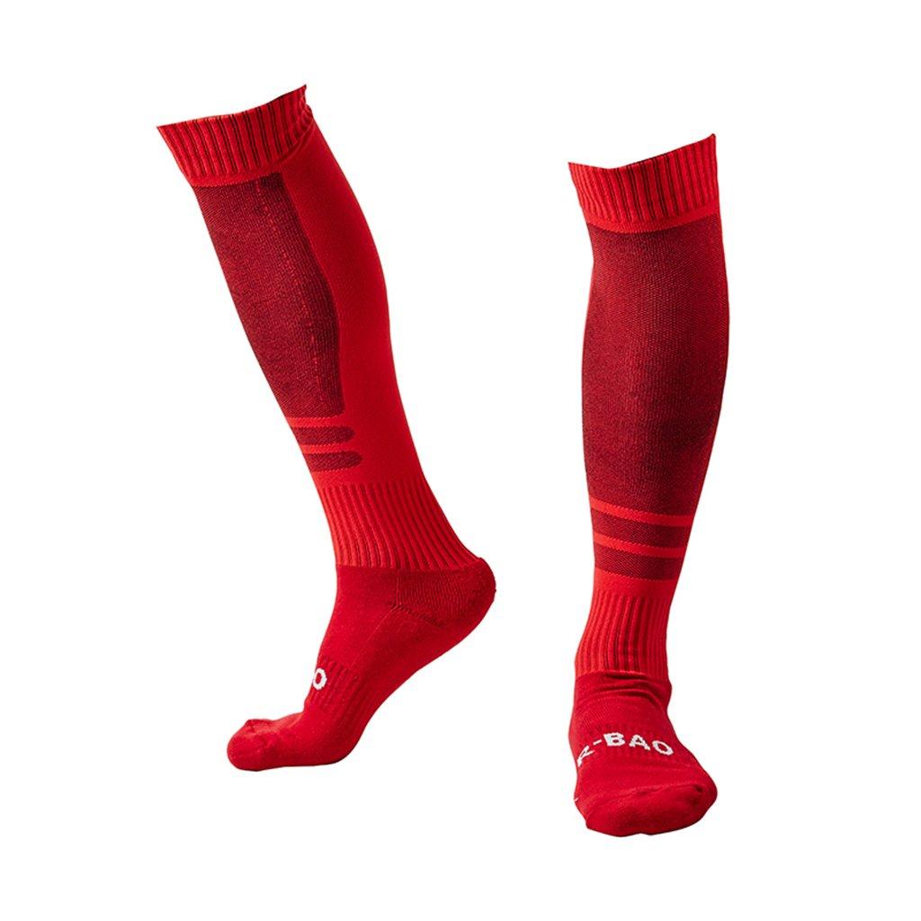 Red Soccer Socks for Men Women Long Tube Knee High Football Socks for Sale by Guumor
