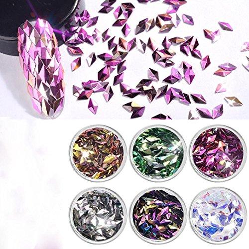 (6Color Diamond Shaped Dazzling Nail Sticker Colorful Nail Art Decoration )