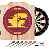 Central Michigan University Deluxe Solid Wood Cabinet Complete Dart Set - Officially Licensed!